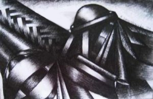 Annette Nichols, Mechanism, 2008, ink in paper, 5.5 x 7.5 inches