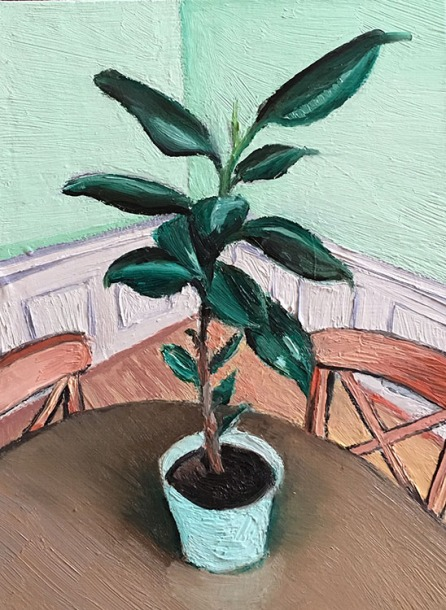 Annette Nichols, Plant Still Life, oil on panel, 7x5