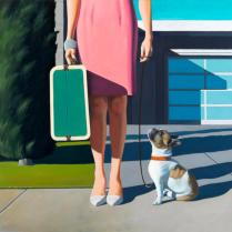 Jamie Perry - Woman with Dog and Suitcase
