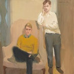 Fairfield Porter (1907-1975), Portrait of Ted Carey and Andy Warhol, 1960, Oil on linen, 40 × 40 1/8 inches