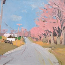 Fairfield Porter (1907–1975), Cobb Road, Water Mill in April, 1966, acrylic on masonite, 16 x 19 inches
