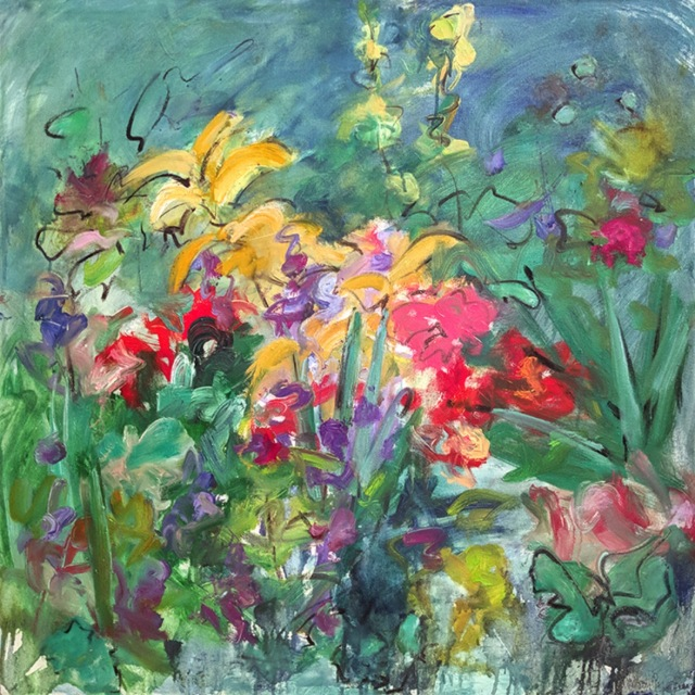Mary Page Evans, Summer Garden, 2017, oil on canvas, 30x30 inches