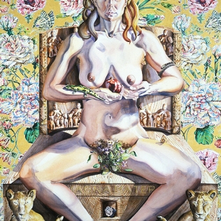 Holly Trostle Brigham, Cybele on Her Birthing Throne, 2001, Watercolor, 60 x 40 inches