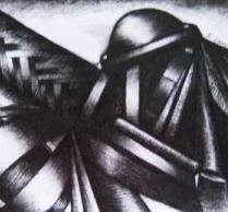 Annette Nichols, Mechanism, 2009, ink on paper, 5.5 x 7.5 inches, SOLD