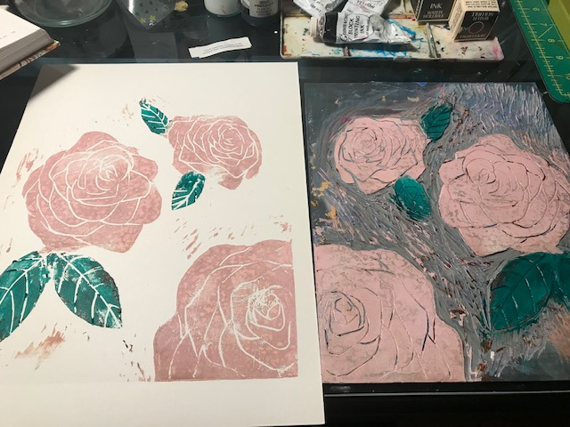 Annette Nichols Linocut Print Roses 2021
