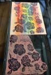 Annette Nichols Rainbow Roses Linocut Print 2021